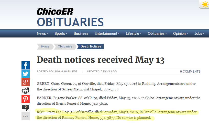 Death notices received May 13