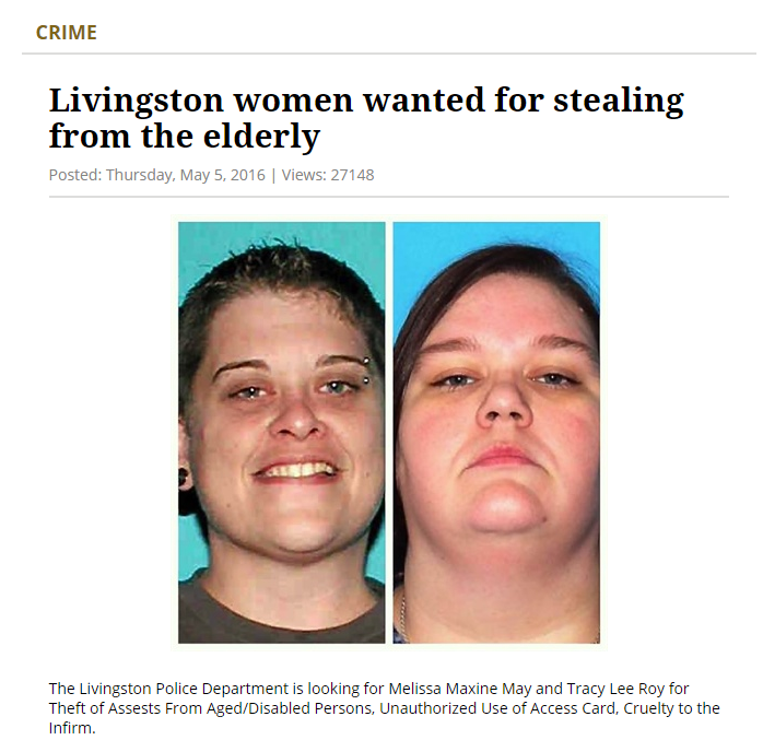 Livingston women wanted for stealing from the elderly